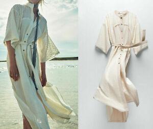 Zara Woman Midi Dress Long Shirt Limited Edition-Raw Belt  XS  0775/152