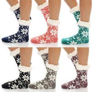 Damen Hausschuhe Hüttensocken Socken Teddyfell Strümpfe warm Neu BF 00028