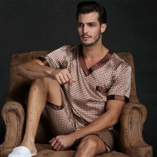 Pajamas Sets Men Satin Silk T-shirt /& Shorts Spring Summer Autumn Sleepwear Home
