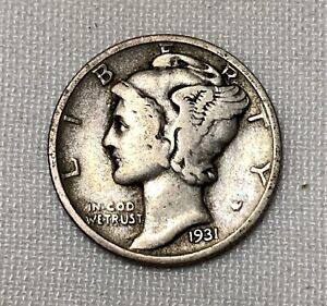 90/% SILVER GOOD PLUS BETTER DATE 1931 D MERCURY DIME FREE SHIPPING!