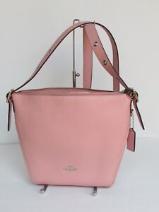19176db6cb Image is loading NEW-Coach-Dufflette-Peony-Pink-Leather-Crossbody-Shoulder-