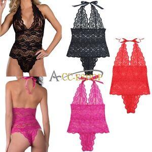 Plus-Size-Sexy-Womens-Underwear-Babydoll-Lace-Lingerie-Teddy-Sleepwear-Nightwear