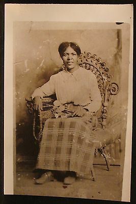 Repro Picture Antique Photo Black Woman Middle Aged Flowers on Lap Wicker Chair