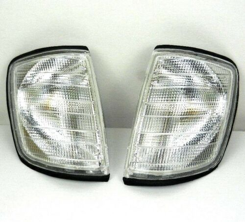 MERCEDES E-CLASS W 124 1984-1996 PAIR CLEAR FRONT INDICATOR LEFT RIGHT WHITE SET