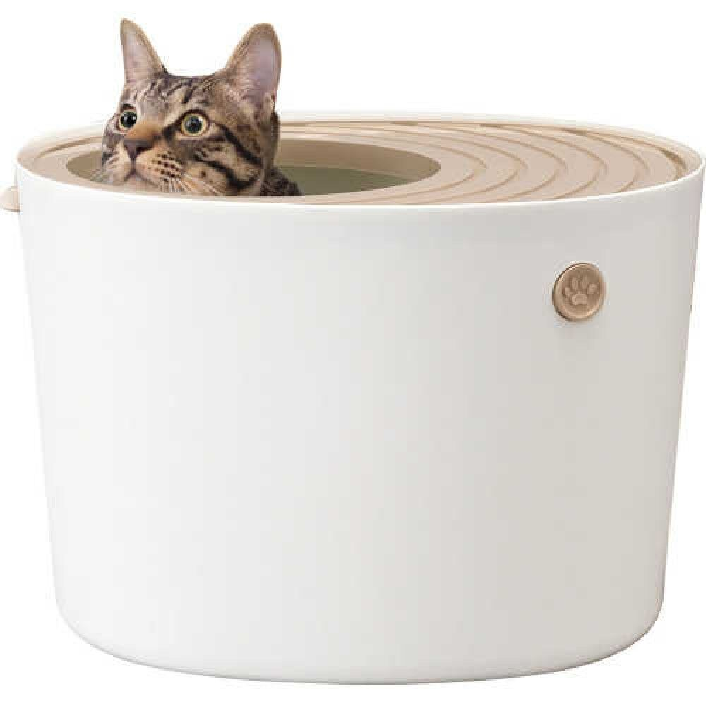 IRIS OHYAMA PUNT-430 Cat Litter Box Small White Fast Shipping From Japan EMS