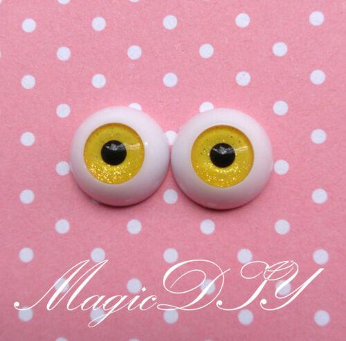14mm Hand Made BJD Doll Eyes Shining Yellow Acrylic Half Ball