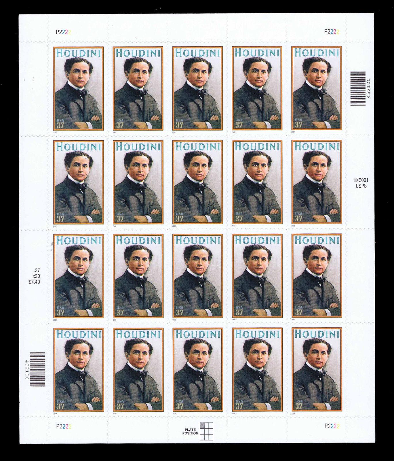 2002 37c Harry Houdini, Magician, Sheet of 20 Scott 365