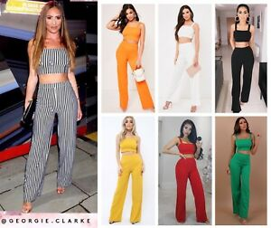 f23e14b805a3 Womens Crop Top and Stretch Wide Leg Trousers two Piece Co-ord Suit ...
