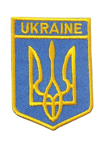 UKRAINE With TRIDENT Shield  Shape ..EMBROIDERED IRON-ON PATCH CREST BADGE