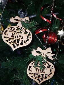 Personalized Christmas Decor.Details About Personalized Xmas Custom Cut Mdf Timber Wooden Baubles Christmas Decorations