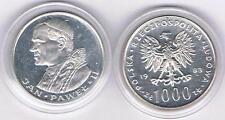 1000 Zl Silbermuenze 1983 Jan Pawel II Papst 14,5 gr Silber!, TOP Zustand,