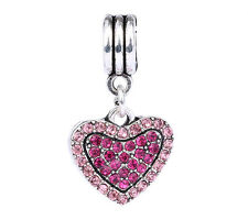 NEW 925 Silver Love Heart Pink Rose CZ Pendant Charm Bead Fit Sterling Bracelet