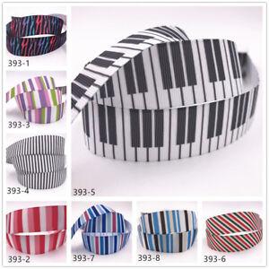 DIY-1-10-Yard-1-039-039-25MM-stripe-Printed-Grosgrain-Ribbon-Hair-Bow-Sewing-Ribbon