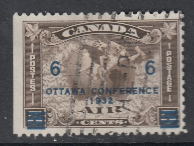 Canada Scott #C4 6 cent on 5 cent olive brown