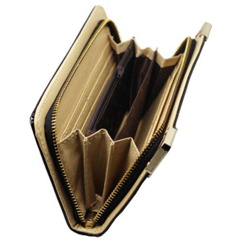 W17 NBlack Patterned Gold Corners Women Purse Card Holder Large Wallet Clutch