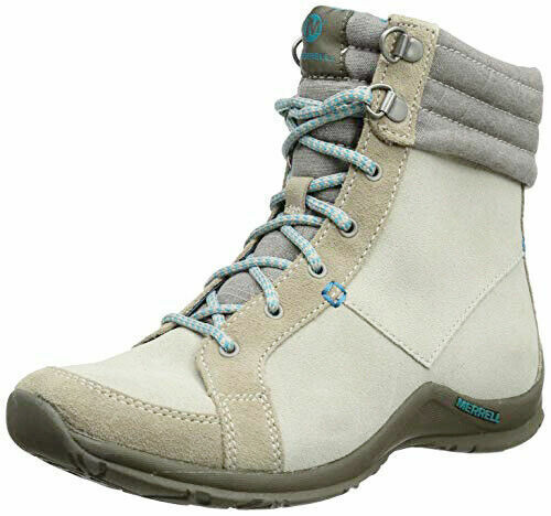 LADIES MERRELL CHENELL grau LEATHER LACE-UP CALF ANKLE Stiefel schuhe GrößeS 4-8