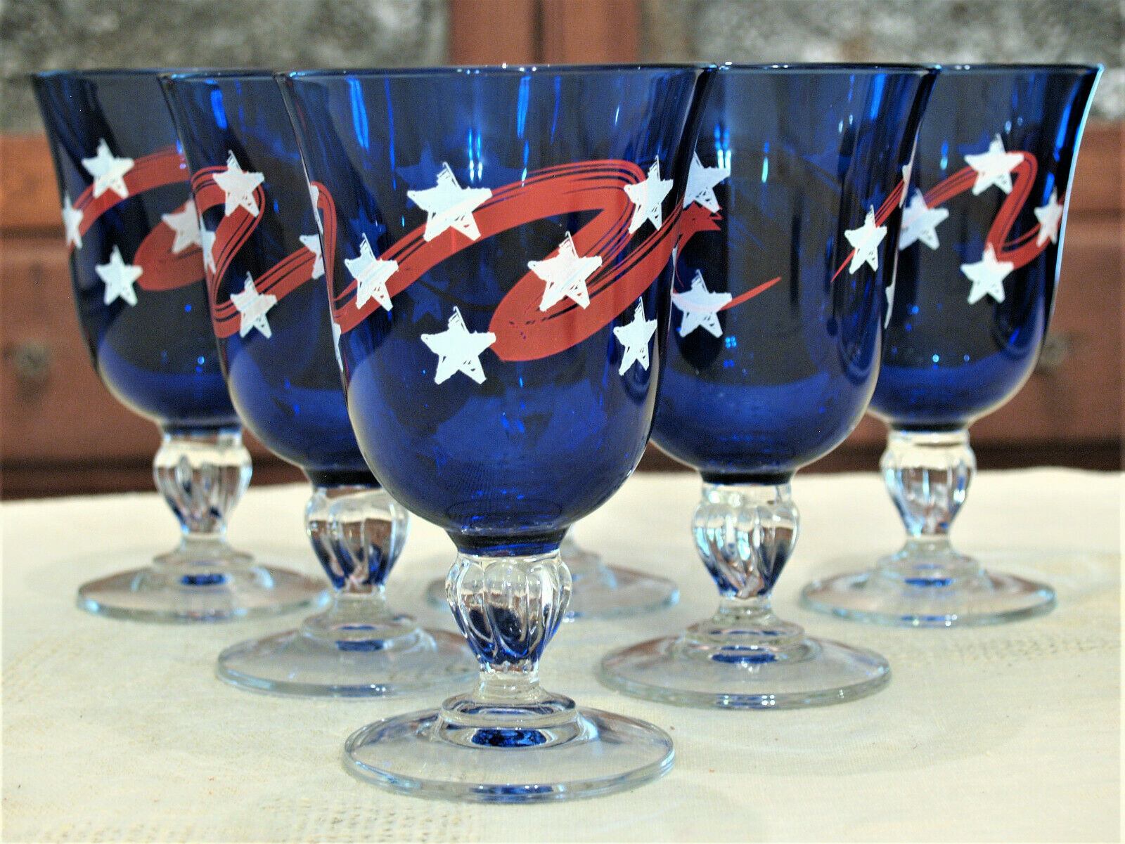 July 4th Memorial Day bluee Goblets Stars Stripes Red White