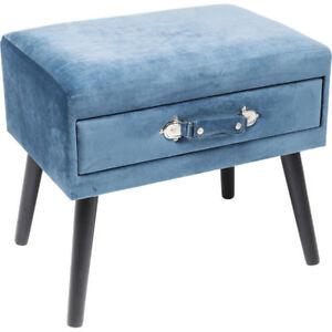 Hocker-Polsterhocker-Pouf-Sitzbank-Truhe-Koffer-Samt-blau-NEU-KARE-Design-83243