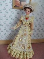 VICTORIAN LADY DOLL DRESSED IN BEIGE  FOR A DOLLS HOUSE