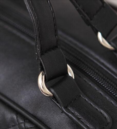 Edle Designer Handtasche Kariert Tasche Shopper Vollrindleder weiss schwarz