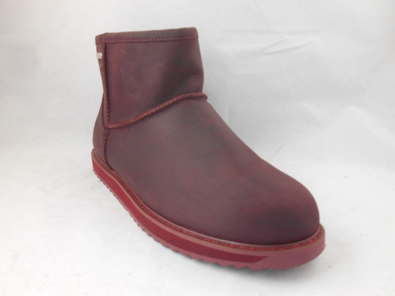 EMU Australia Paterson Wine Oiled Leather Sheepskin Lined Short Boots Wmns Sz 10
