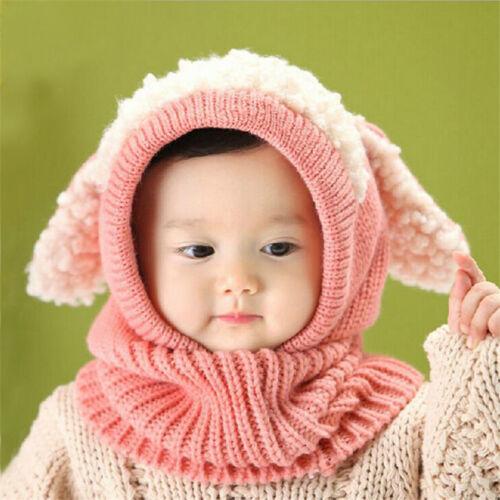 1 Pc Lovely Baby Winter Hat Scarf Earflap Hood Scarves Suit Skull Caps Warm Knit