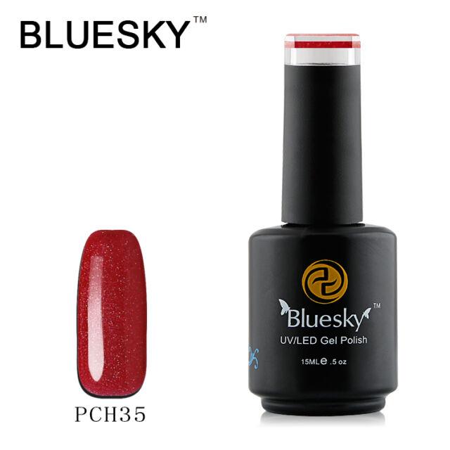 PCH35 Bluesky Salon Nail Polish UV GEL Glaze Rusty Orange Silver Bling