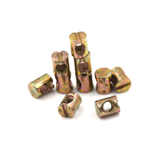10pcs M5 Barrel Bolts Nut Cross Dowel Slotted Furniture Nut for Beds ChairRSDE