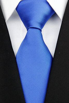 NE0208 Classic JACQUARD Woven Pure Blue 100%Silk Men's Necktie Tie