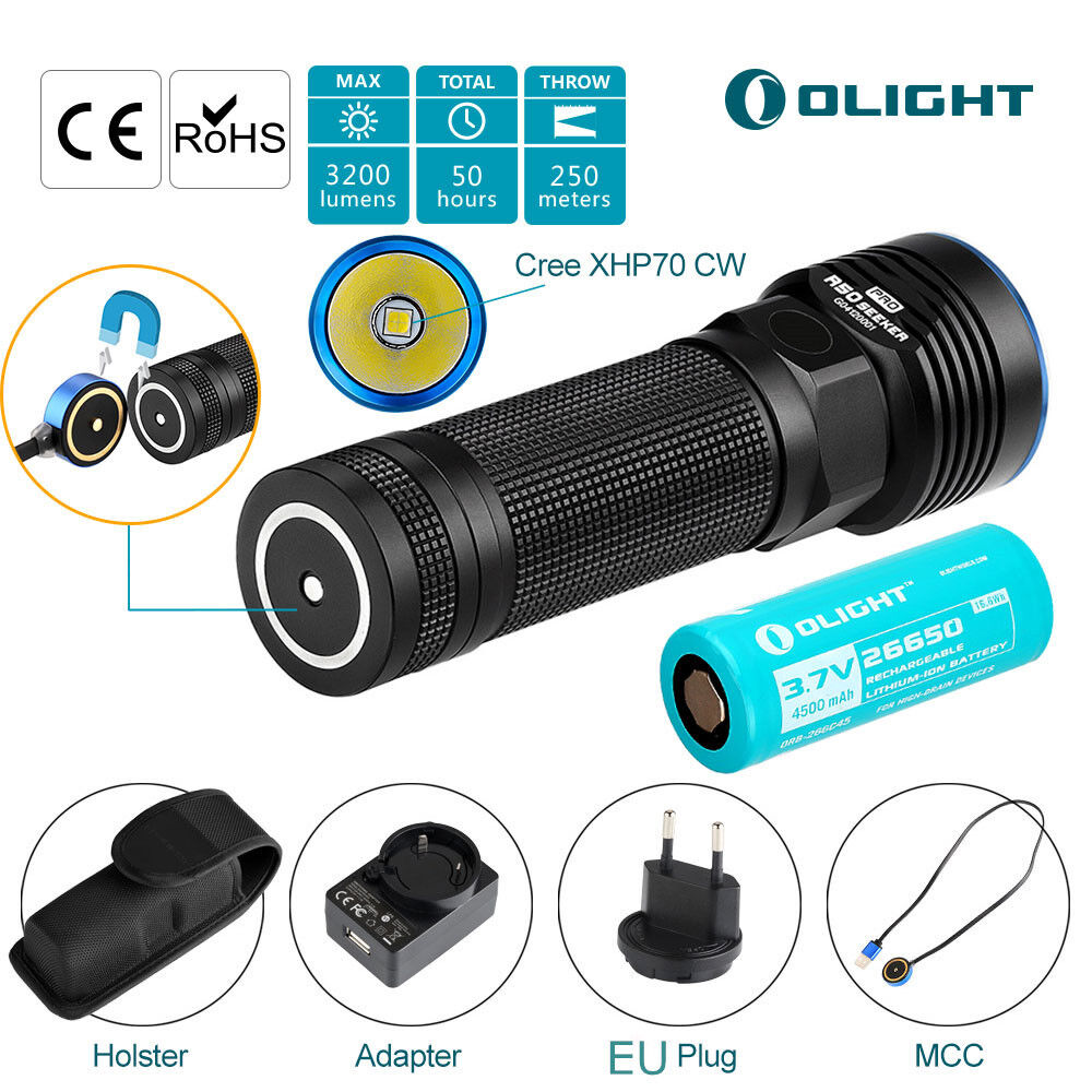 Olight R50 Pro Seeker Taschenlampe 3200LM Cree XHP70 XHP70 XHP70 CW LED Lampe 26650 Licht DE  | Große Ausverkauf  e85314