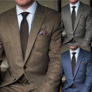 Men-039-s-Wool-Herringbone-Suits-Vintage-Business-Formal-Wear-Peaky-Blinder-Tailored