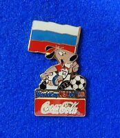 Russia Russian Flag Stryker The World Cup Soccer Dog Mascot Coca-Cola Coke Pin