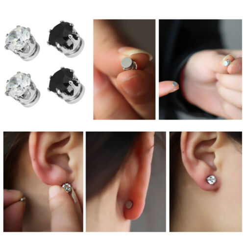 1Pair Exquisite Mens Women Clear//Black Crystal Magnet Earrings Stud Jewelry Z lq
