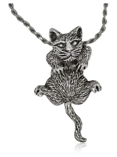 925 solid Sterling Silver articulated Cat pendant