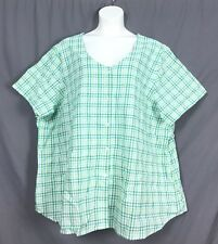 plus size short sleeve SEERSUCKER baseball CAMP shirt 4X 34 36 green check L2