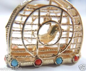 Antique-Vintage-Art-Deco-Bird-Cage-Charm-14K-Gold-Turquoise-Coral-Pearls-Estate