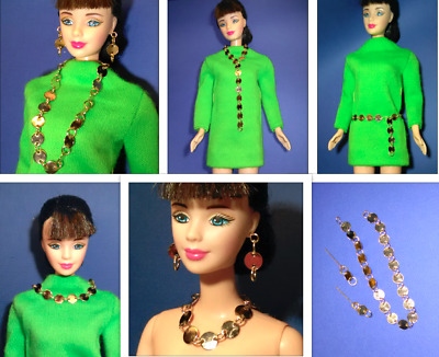 Barbie Dreamz MOD BELT with PINK /& GOLD HOOP RINGS Adjustable Doll Jewelry