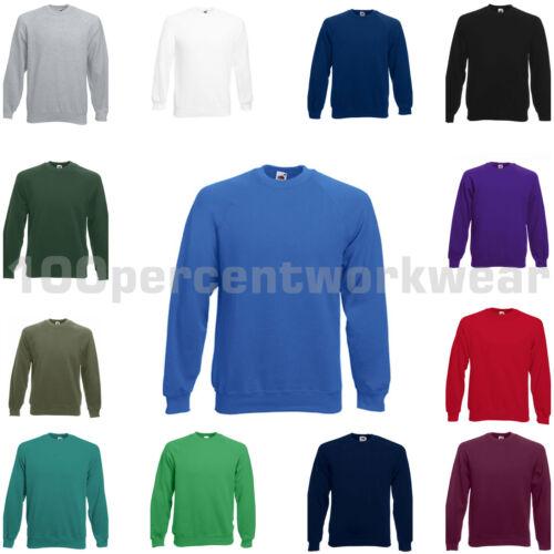3 x Fruit of the Loom Raglan Classic Sweatshirt Work Sweater Jumper Plain Crew
