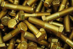 15 Hex Head Bolts 9//16-18 x 4 Grade 8 Fine Thread Yellow Zinc USA Made