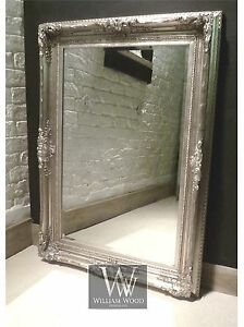 Orleans-Silver-Shabby-Chic-Rectangle-Ornate-Wall-Mirror-57-034-x-45-034-X-Large