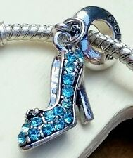 1P Disney Princess Cinderella Sparkling Blue Rhinestone Shoe European Bead Charm