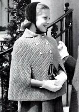 Cape Poncho for Girls Vintage Knitting Pattern Retro Girls Fashion