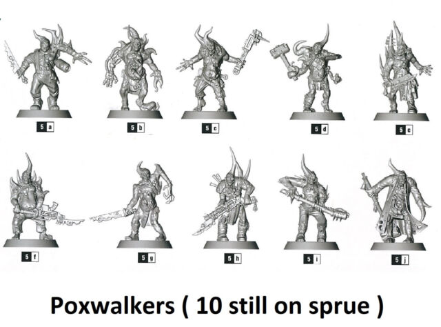 Warhammer 40k Death Guard Nurgle Poxwalkers set of 10 miniatures on sprue