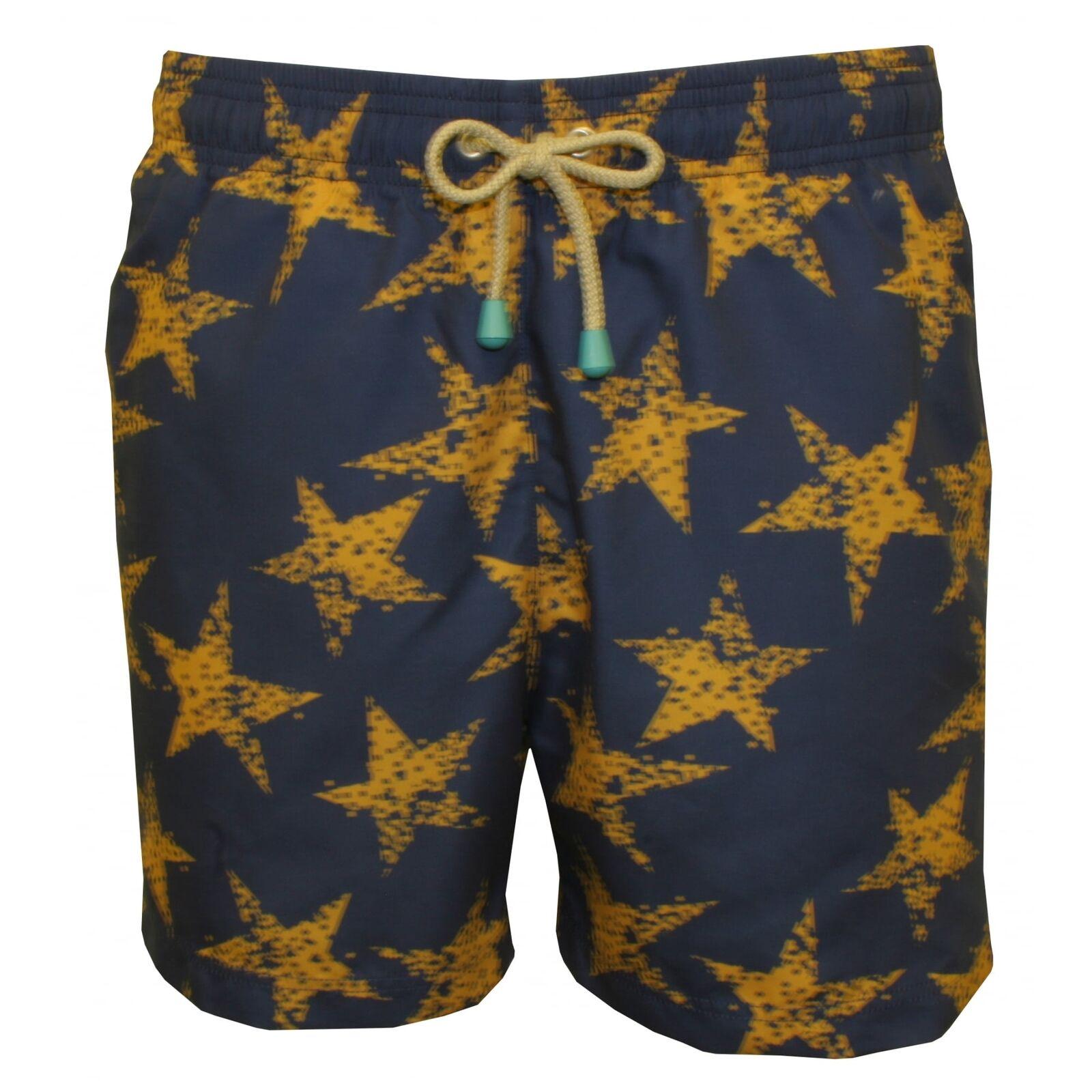Oiler & Boiler Old Skool Rough Star gold Men's Swim Shorts, Navy with gold