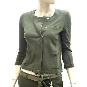 Sun68-Giacca-Donna-in-Felpa-Round-Jacket-Solid-Cotton-Estivo-Verde-Blazer-17240