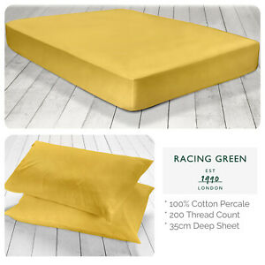 Racing-Green-100-Cotton-Fitted-Bed-Sheets-amp-Pillowcases-Ochre-Mustard-Yellow