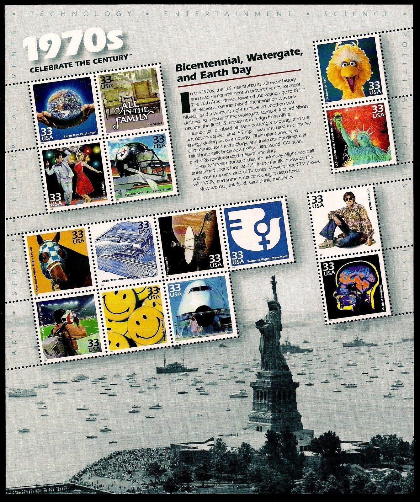 2000 33c 1970's Celebrate the Century, Sheet of 15 Scot