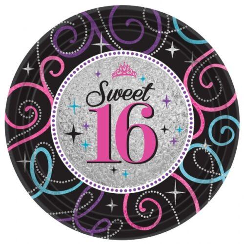 16th Fiesta Cumpleaños Servilletas Platos Tazas Mantel dulce dieciséis Negro y Púrpura