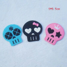 3pcs Embroidery Iron Sew On Patch Bag Cartoon Skull Shape Applique Kids Gifts