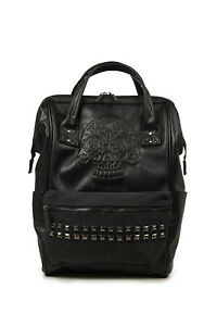 Skull-Studs-Punk-Rock-Gothic-Faux-Leather-Unisex-School-Backpack-Rucksack-Banned